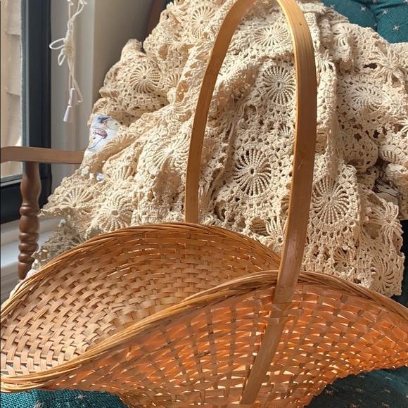 Cute floral flower holding hanging wicker basket
